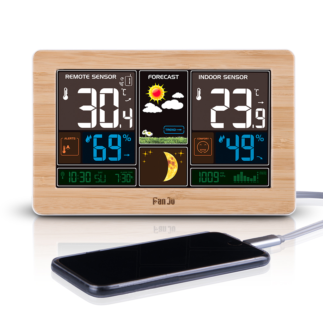 FanJu FJ3378W Color Weather Station with USB Charger / Atomic Clock ...