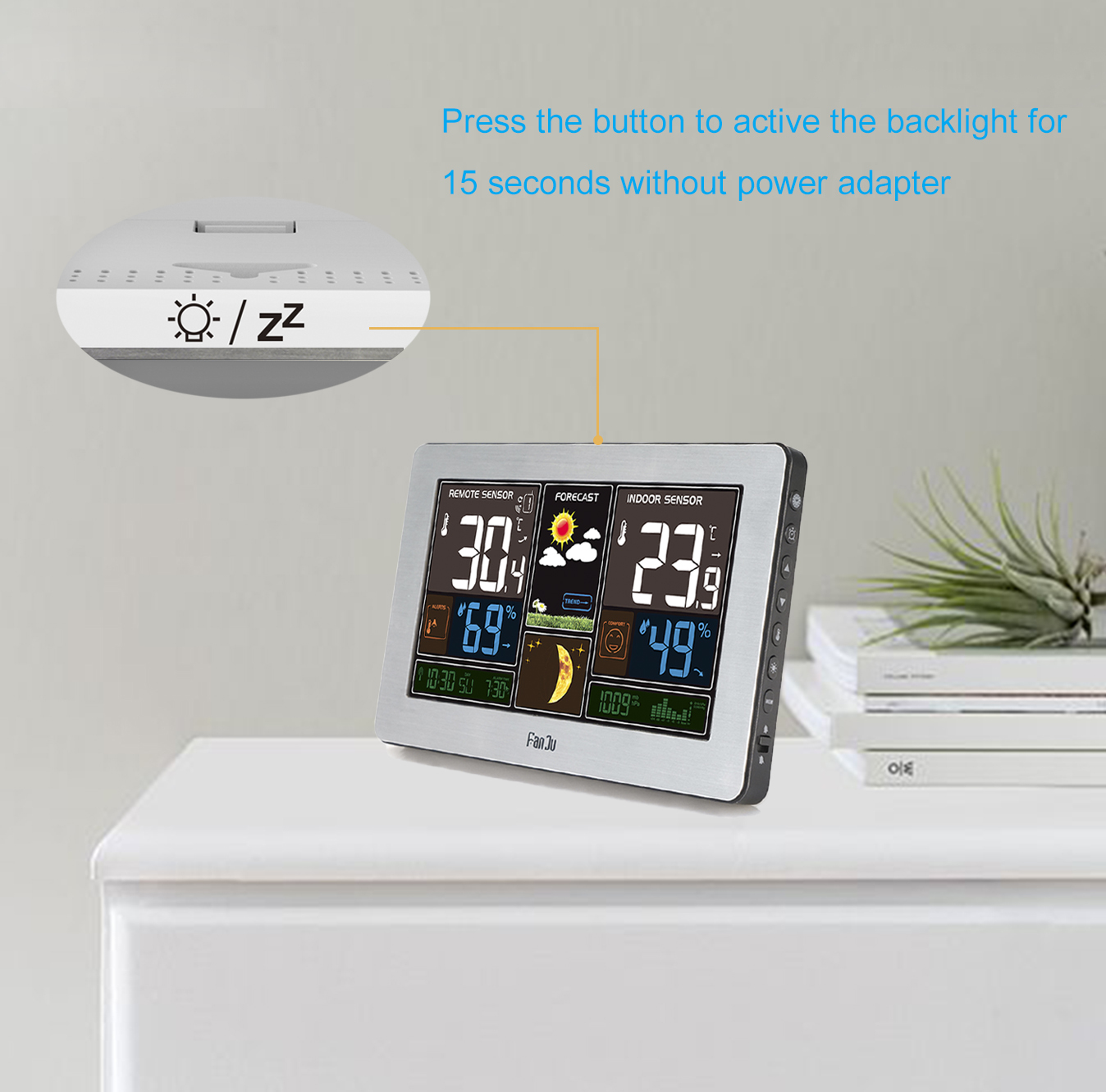 FanJu FJ3378S Color Weather Station with USB Charger / Atomic ...