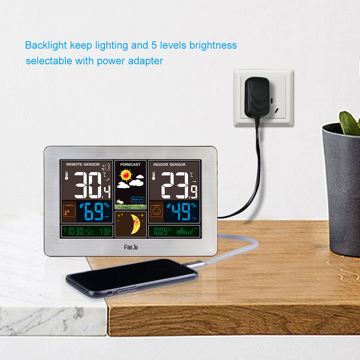 Fanju Fj3378s Color Weather Station With Usb Charger