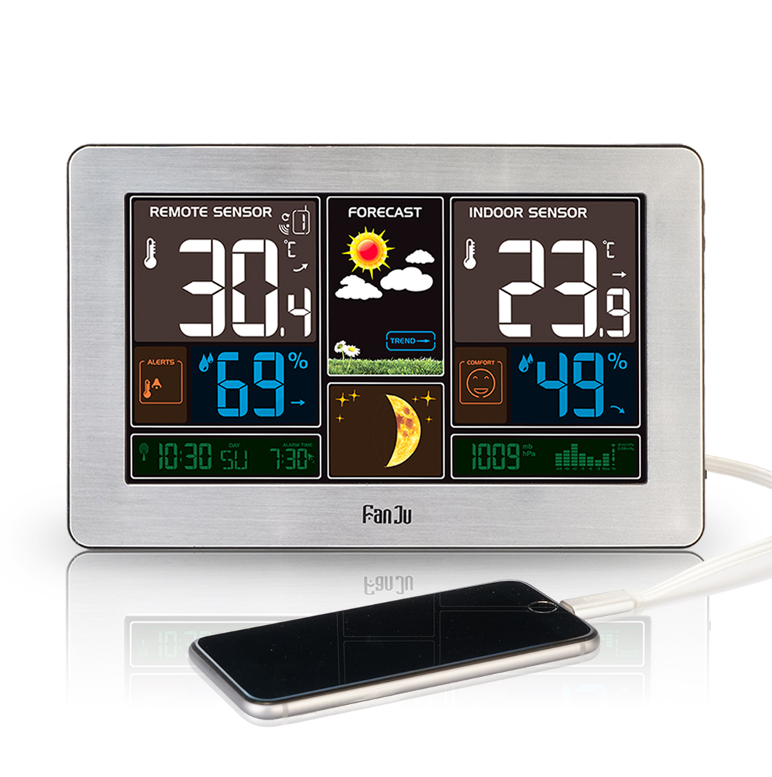 FanJu FJ3378 Color Weather Station with USB Charger / Atomic Clock ...