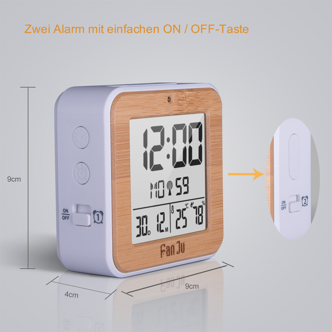 Fanju Fj3533w Small Digital Alarm Clock Battery Operated
