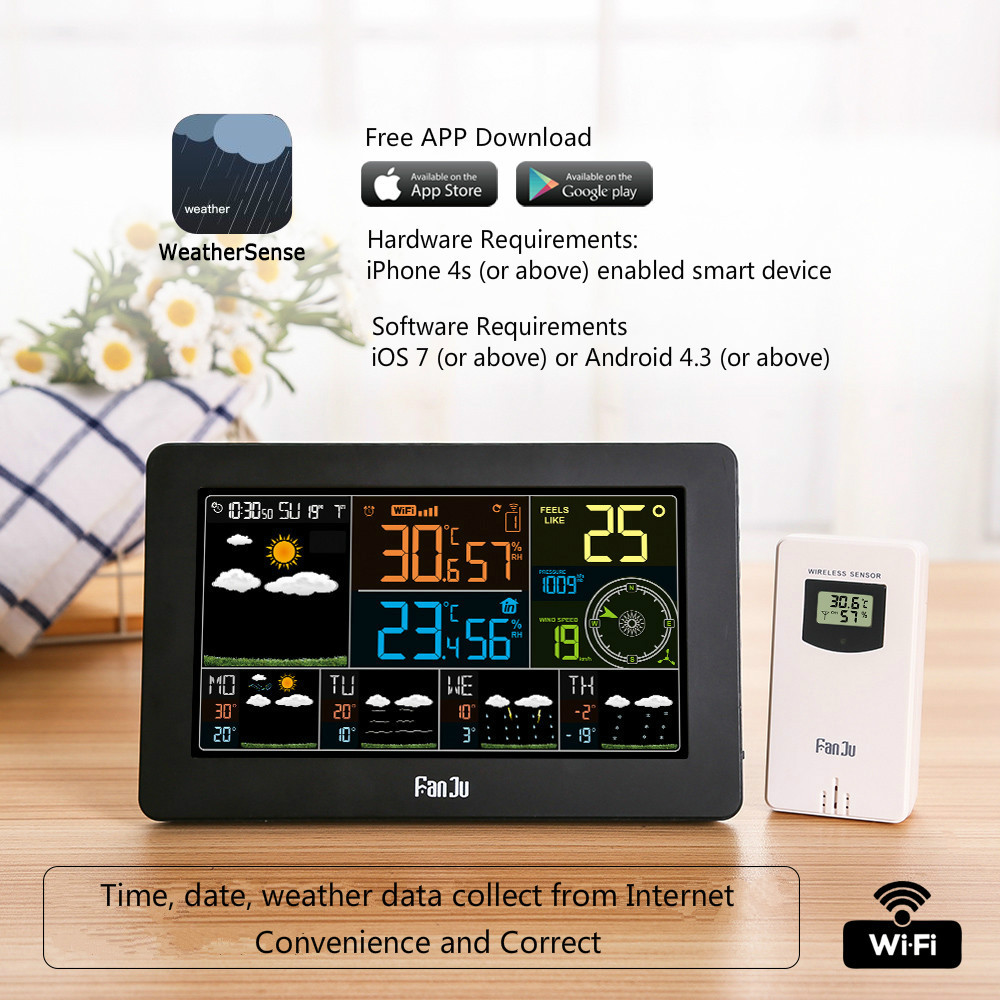 FanJu FJW4 Color Wi-Fi Weather Station with APP Control / Smart
