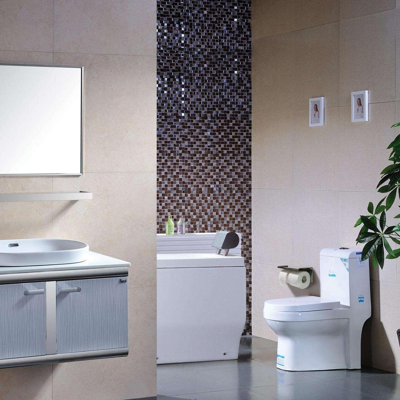 einfagood doppel edelstahl toilettenpapierhalter ohne bohrung edelstahl papierhalter mit. Black Bedroom Furniture Sets. Home Design Ideas