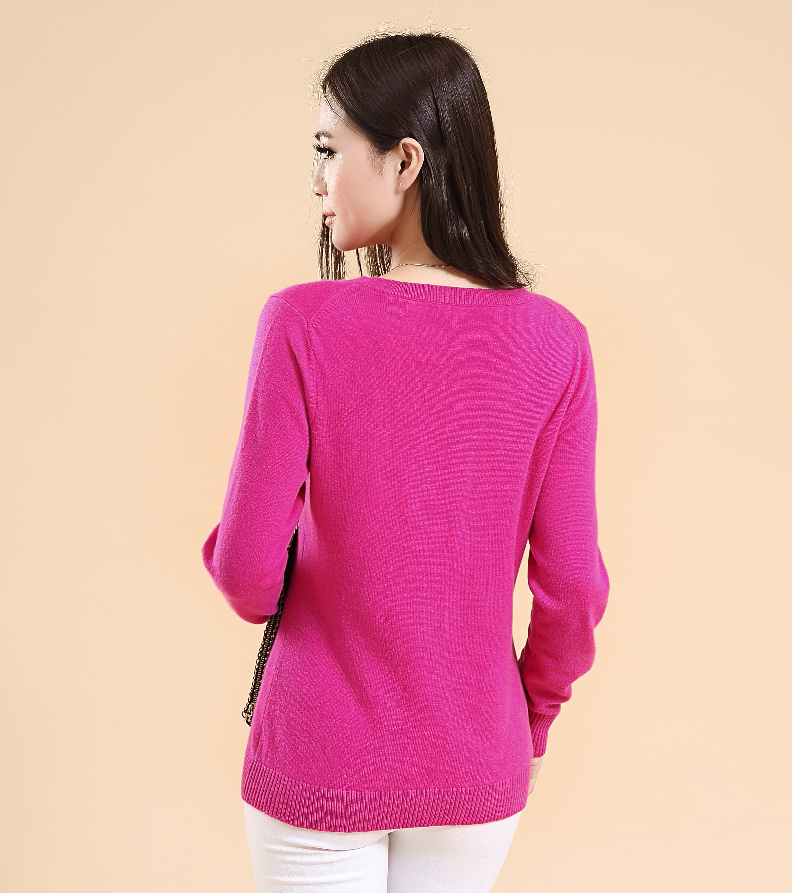 V neck pure cashmere pullover sweater