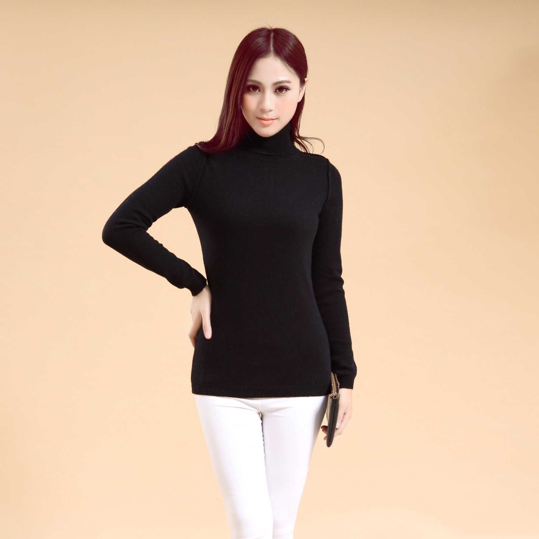 New design Woman's turtle neck cashmere sweater