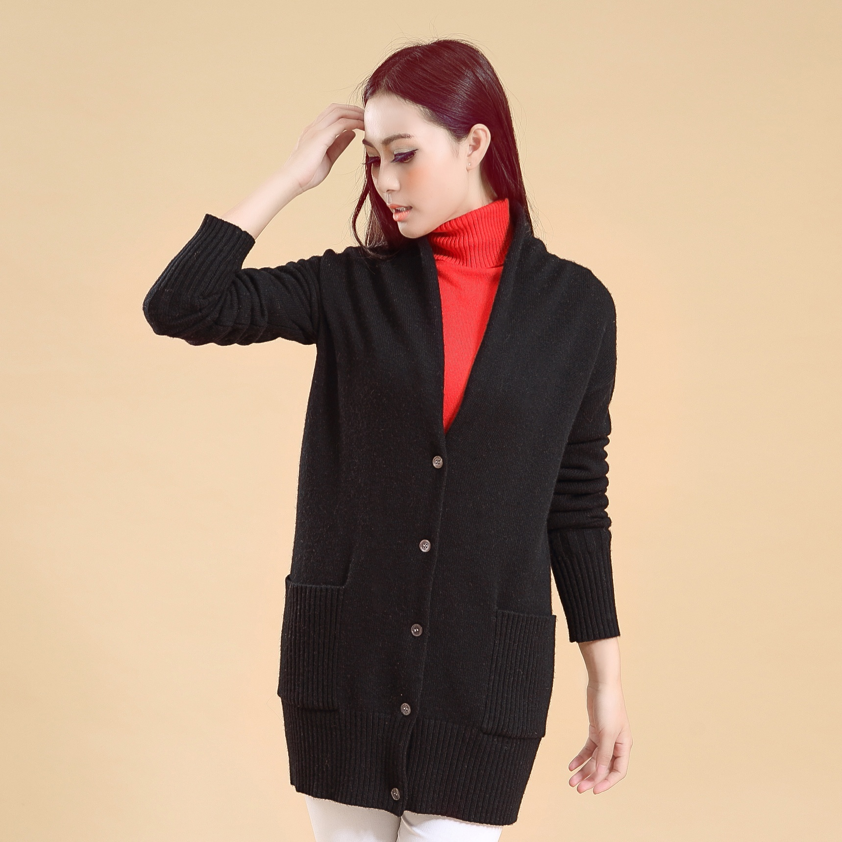 V neck long cardigan cashmere knitwear cardigan