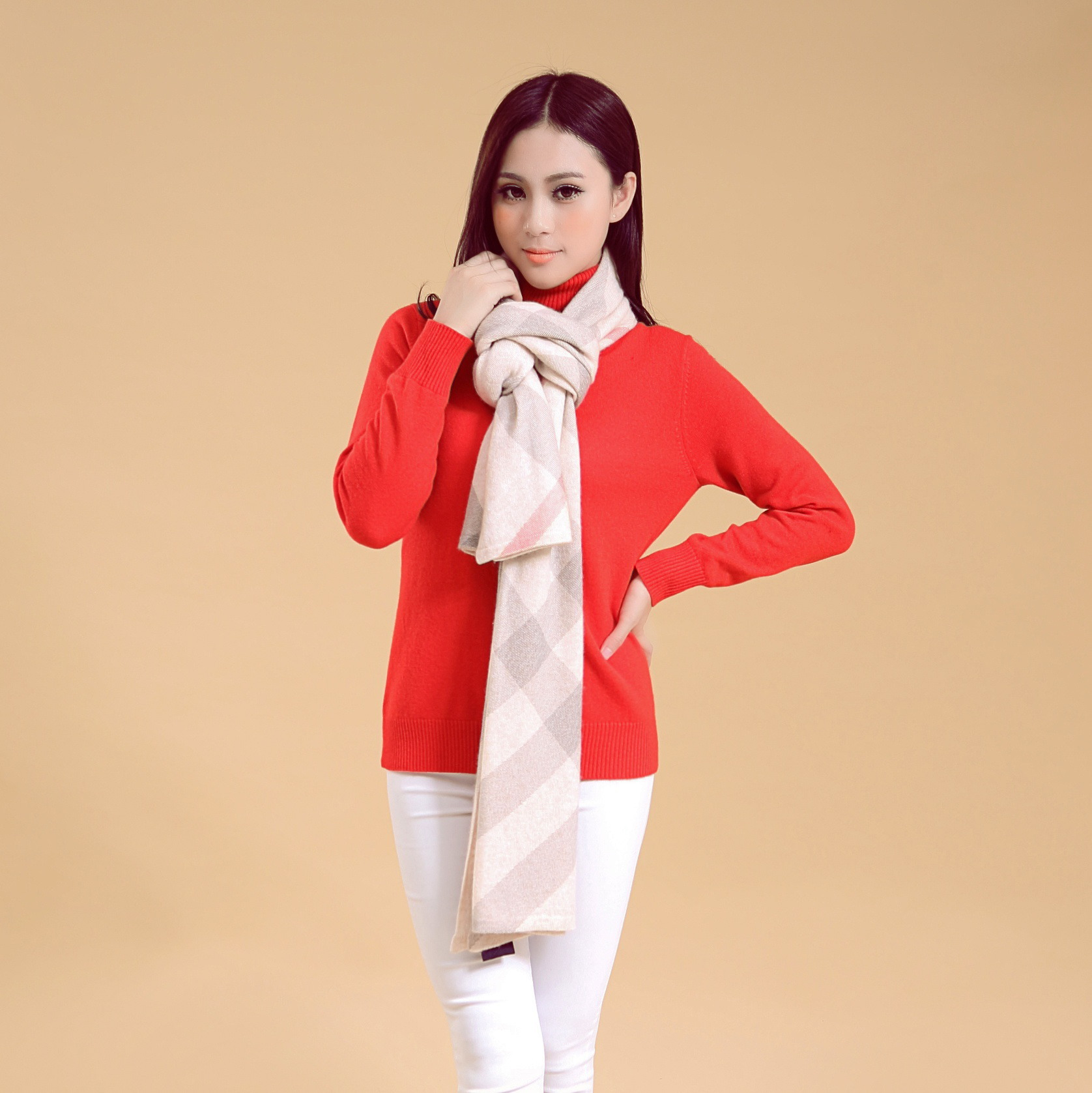 Warmly unisex cashmere printed sweater scarf