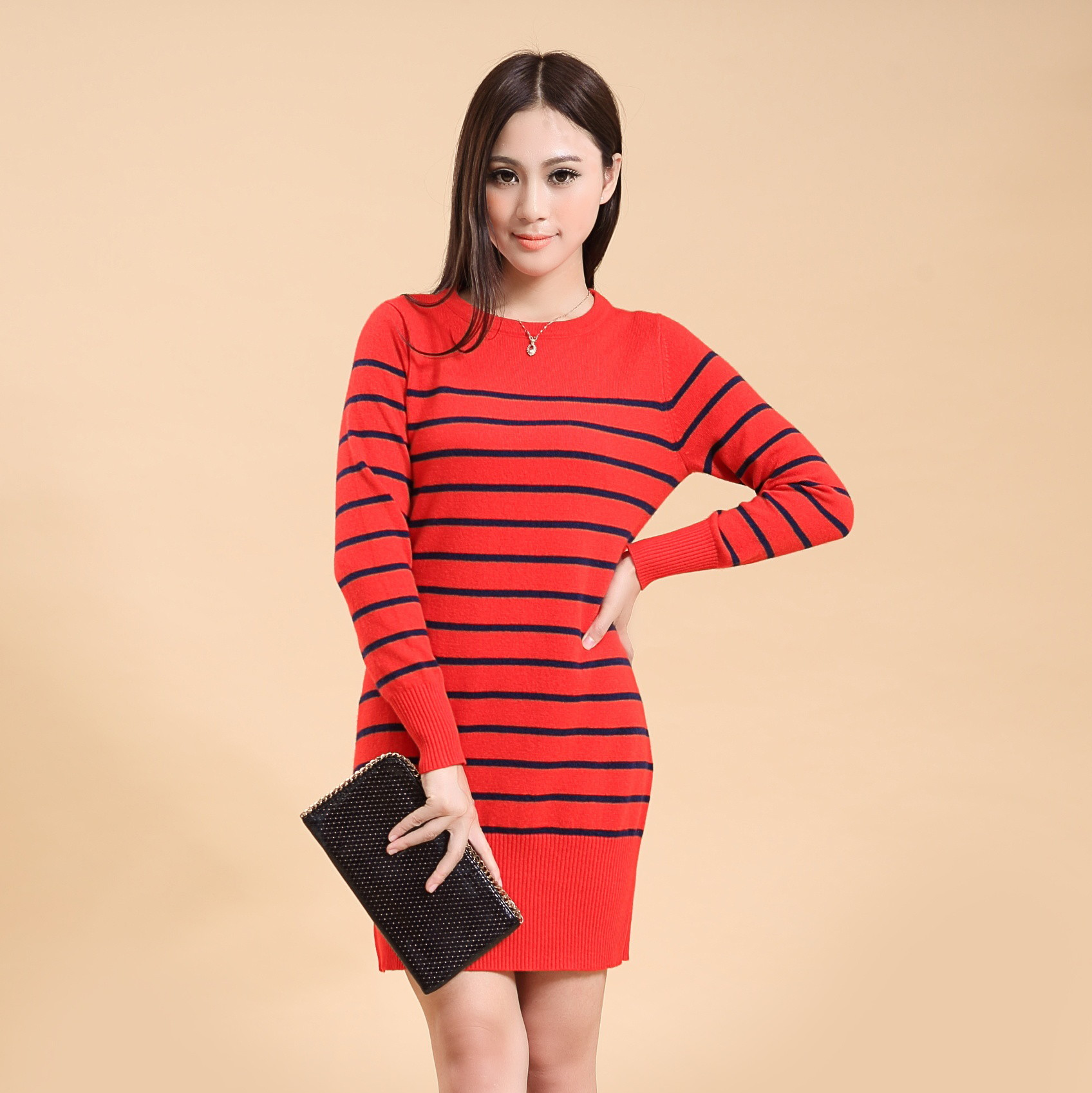 Women's Slimmly red/black stripe Knitted sweater dress