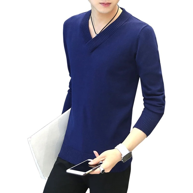 Casually Men's 100% cotton V neck Knitwear sweater