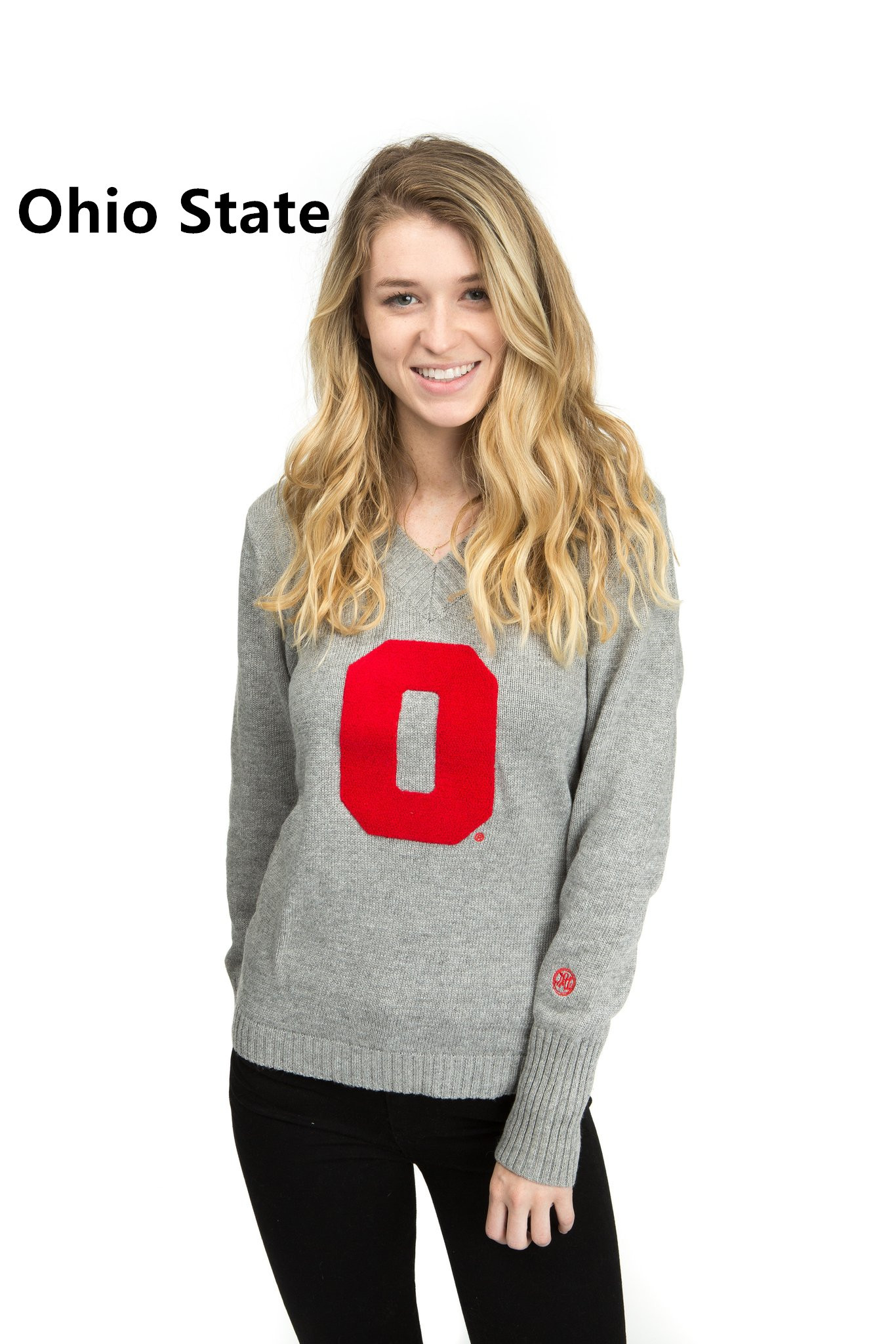 Ladies' L/S v neck pullover/Licensed collegiate sweater