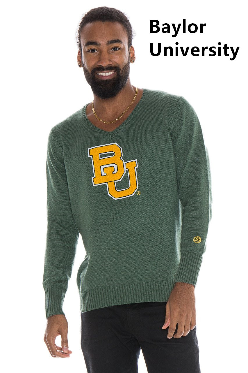 Man's long sleeve v neck pullover/Licensed collegiate sweate