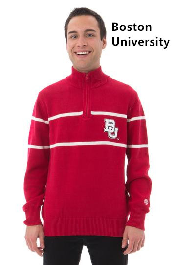 Man's Mock Ribbed Quarter Zip Sweater/ Licensed collegiate