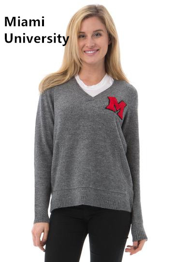 Women wool blended sweater/Licensed collegiate sweater