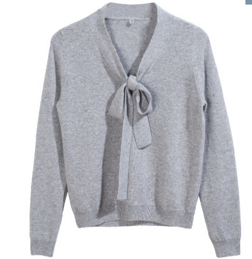 New stylish pure cashmere V neck bowknot sweater pullover