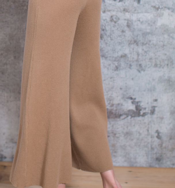 Fashionable pure cashmere Flare Cropped knitted pants