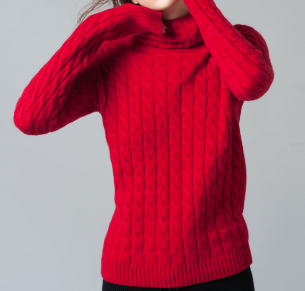 Fashionable pure cashmere turtle neck slim sweater pullover