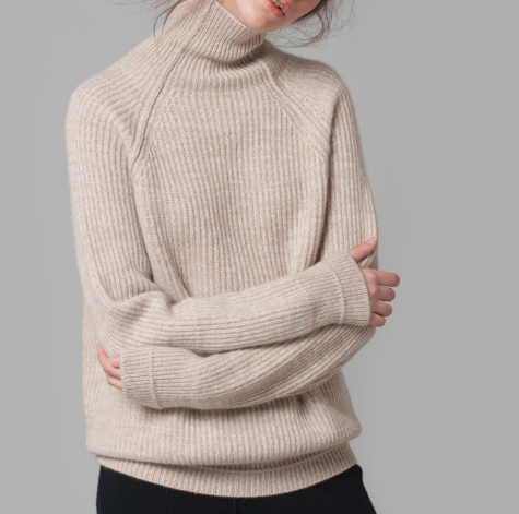 Fashionable loosely thick 100%cashmere Turtle neck sweater