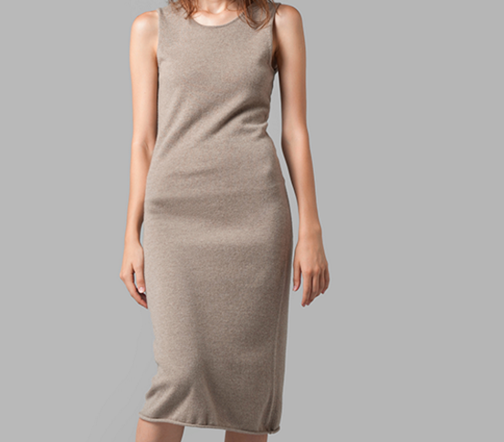 Cashmere round neck sleeveless knitted sweater dress