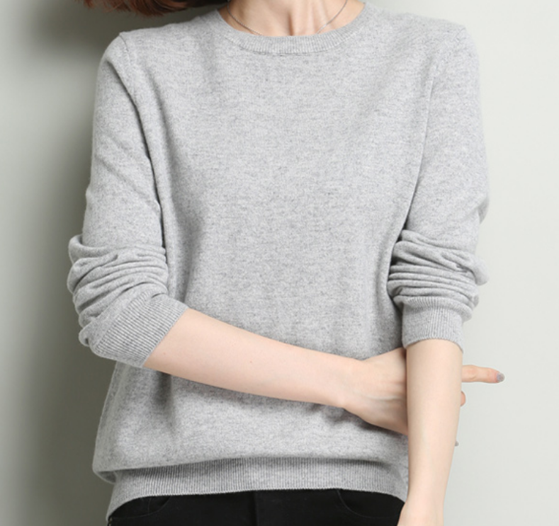 Top quality Casual 100%cashmere round neck sweater pullover