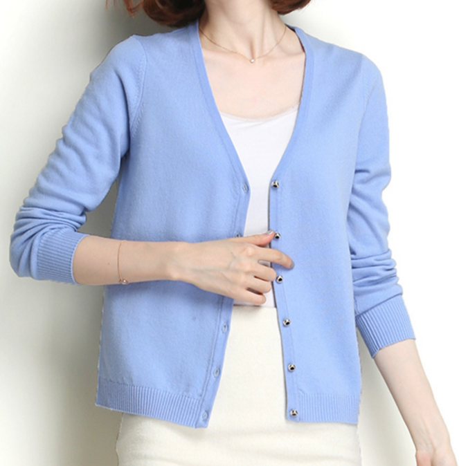 High Quality Women Cashmere V Neck Cardigan Sweater
