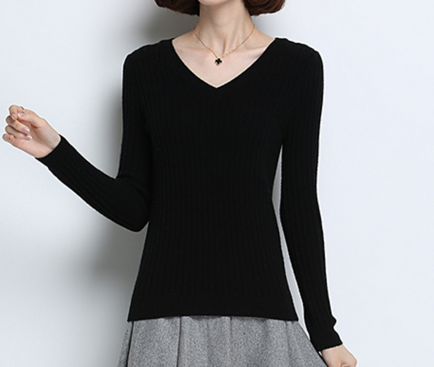 Winter Knitted Warm V neck Pullover Sweater