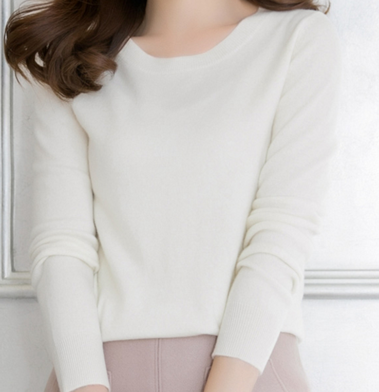Pure Cashmere Single color Round Neck pullover Sweater