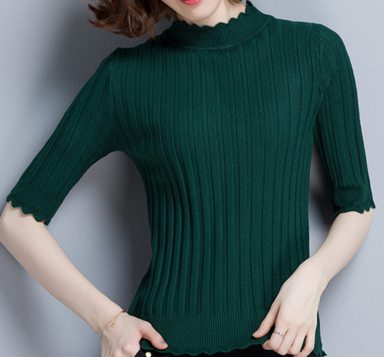 Thin Turtle Neck Half Sleeves Pullover Sweater
