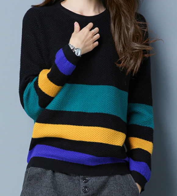 Trend all-matched loosely striped round neck sweater