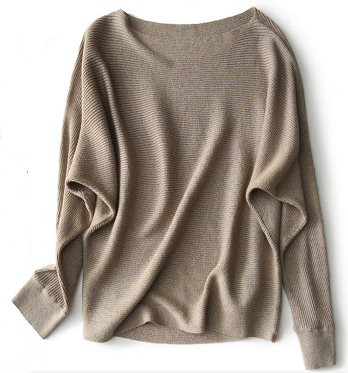 Fashionable One Word Neck Batwing pullover sweater for woman
