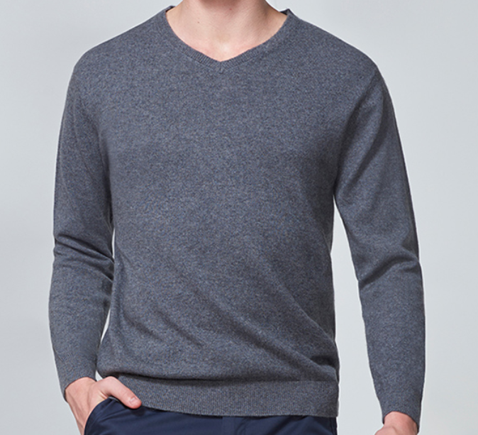 Commercial Casual Pure Cashmere Solid Color V neck Sweater