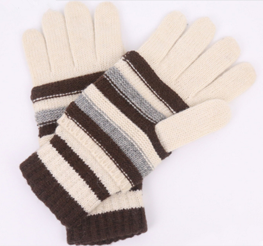Hot Wholesale Winter Sport Touchscreen Striped Knitted Glove