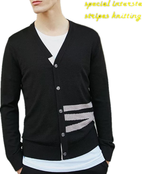 Men's 100%cotton V neck cardigan Sweater