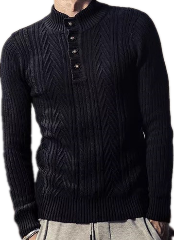 Men's Turtle Neck Cable half cardigan knitwear sweater