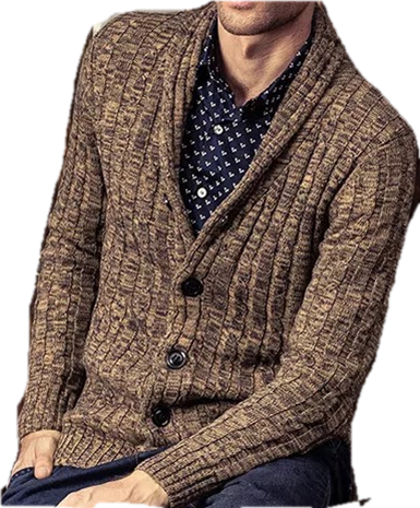 Warmly Acrylic  Men's cable knitted cardigan sweater
