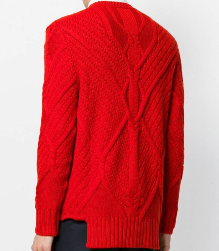 Men's L/S Round Neck Cable Knitted Designer Pullover Sweater