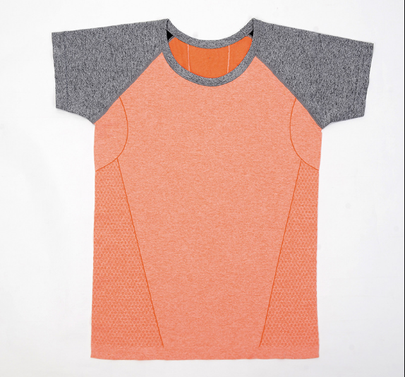 Fashion Contrast Color Spliced Round Neck T Shirt SD6006