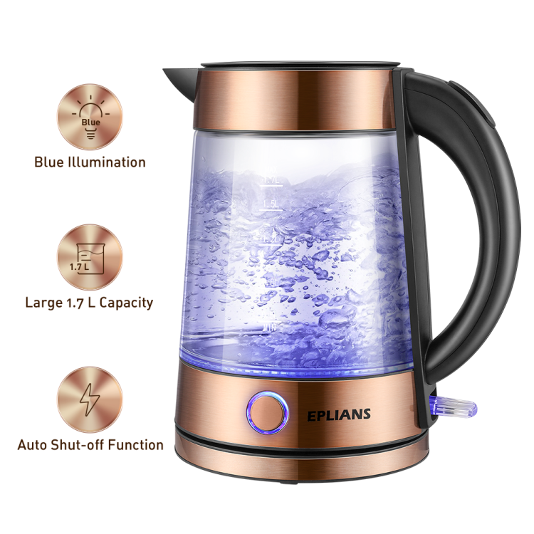EPLIANS Electric Glass Kettle, LED-Lit Fast Water Boiler, 1.7L, 1500 W