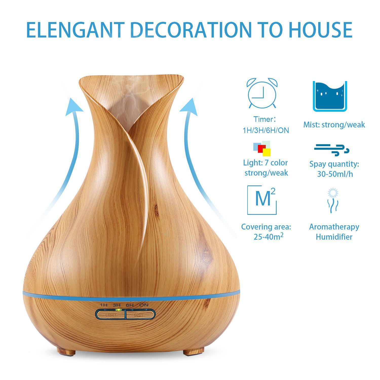 400ml wood grain essential oil diffuser humidifier air