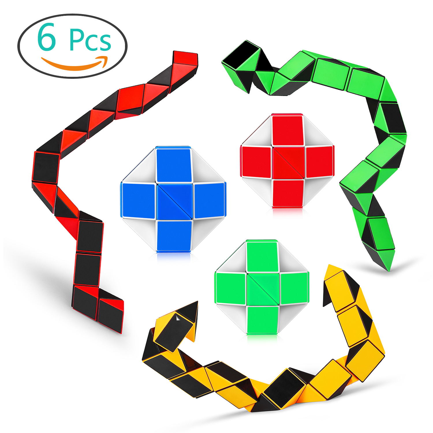 Speed Cube Snake Ruler Twisty Fidget Cube Puzzle Pack Sticke