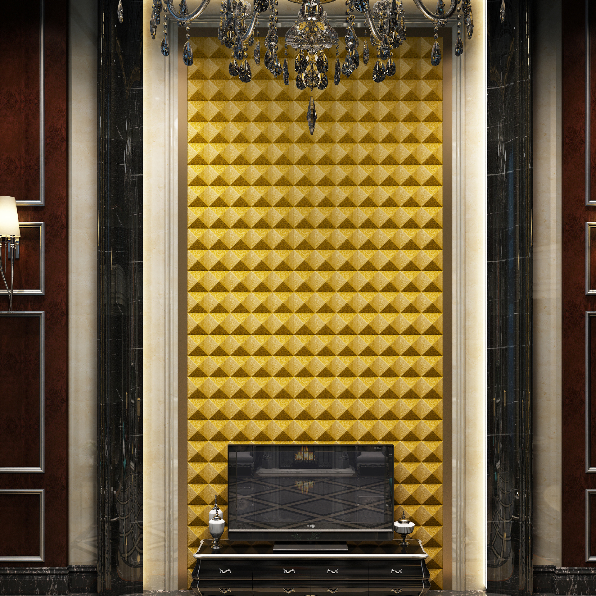 Pyramid Gold 3d Leather Wall Tiles Simple Geometric Designs