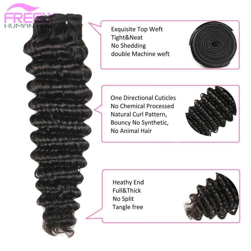 8 10 12 inch Deep Wave Virgin Remy Human Hair 3 Bundles Natu