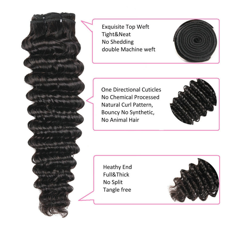 12 14 16 inch Deep Wave Virgin Remy Human Hair 3 Bundles/pac