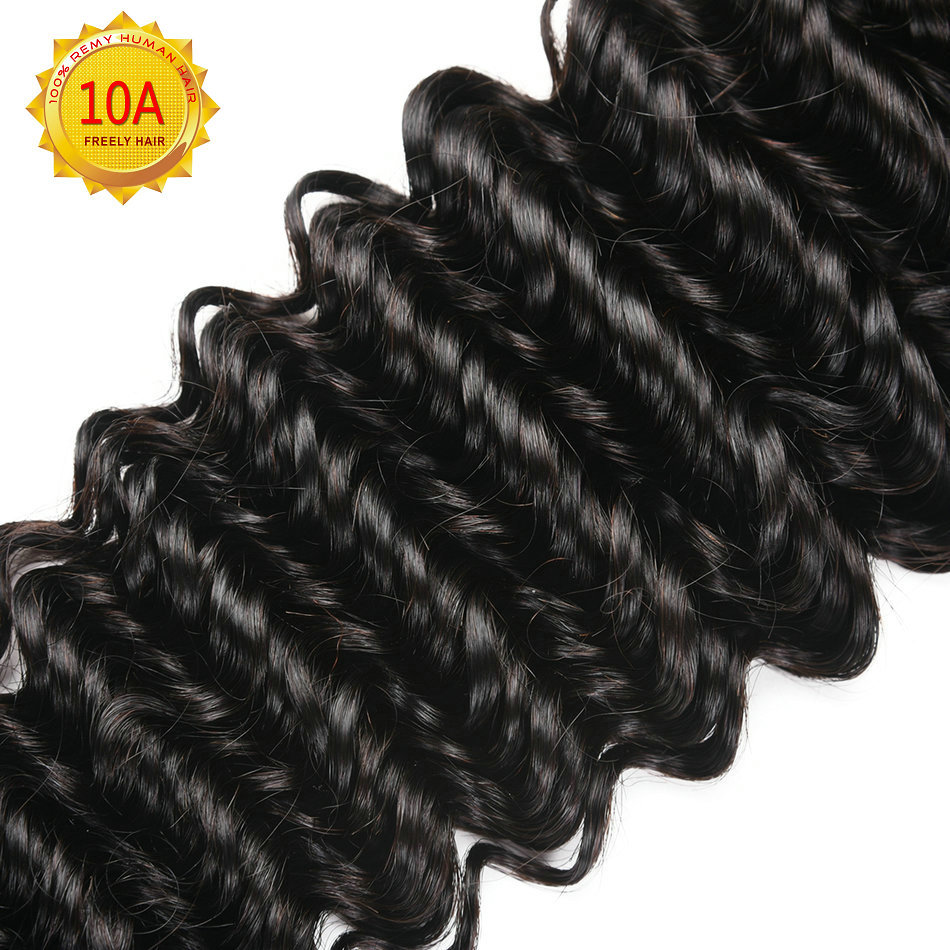22 24 26 inch 10A Remy Human Hair Extensions Deep Wave Unpro