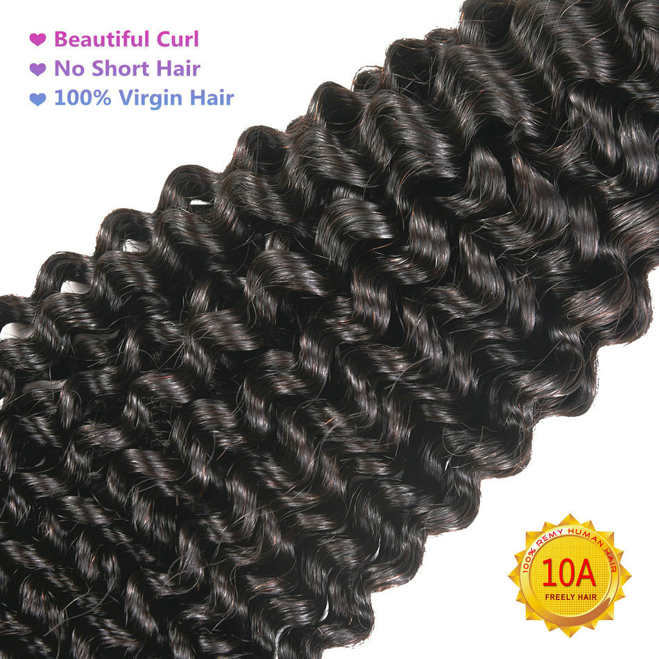 "10"" 10"" 10"" Kinky Wave Unprocessed Virgin Human Hair 3 Bundl"