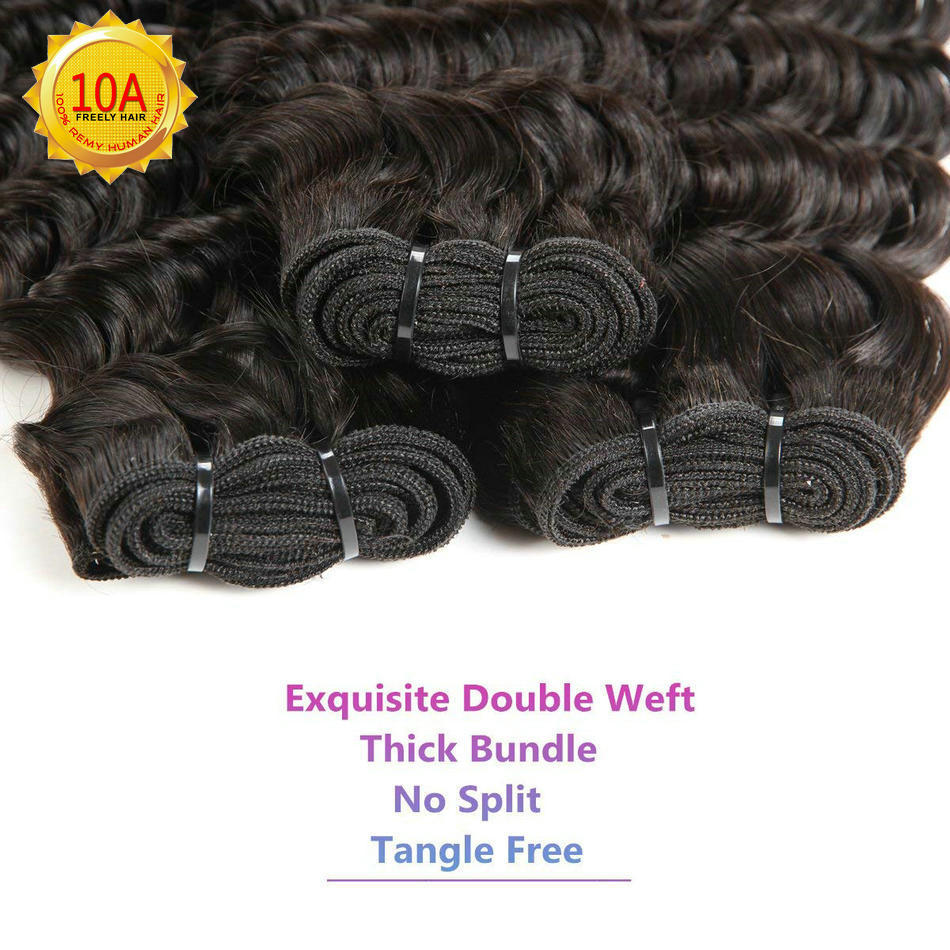 "26""26""26"" Deep Wave Unprocessed Virgin Human Hair 3 Bundles"