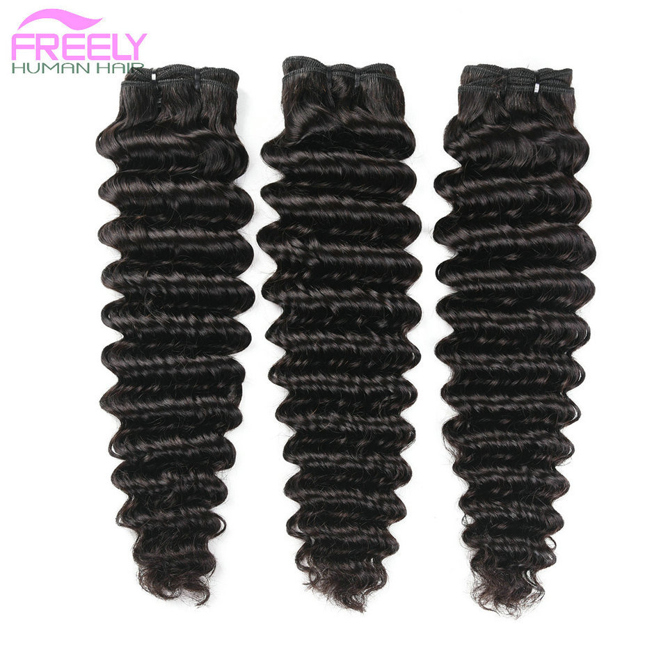"16""16""16"" Deep Wave Unprocessed Virgin Human Hair 3 Bundles"