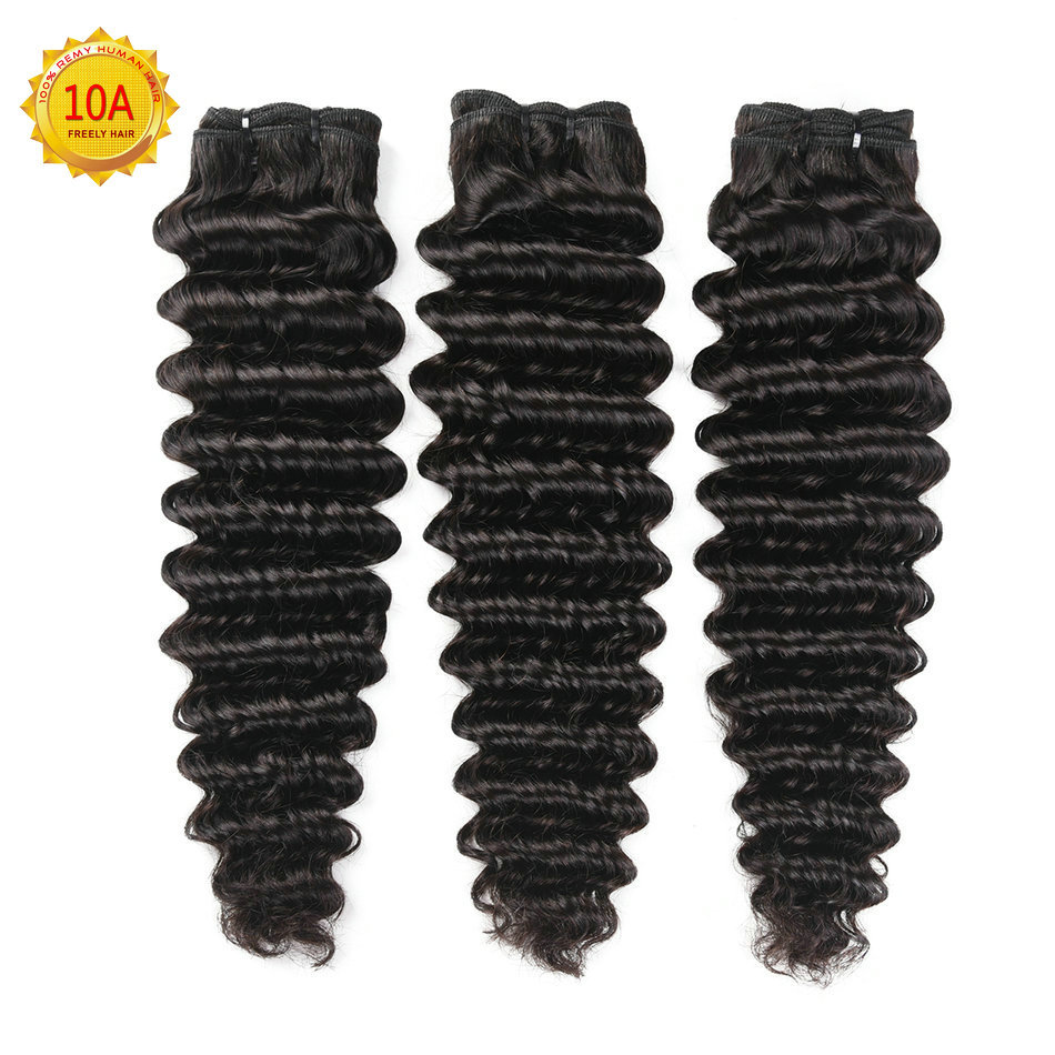 "12""12""12"" Deep Wave Unprocessed Virgin Human Hair 3 Bundles"