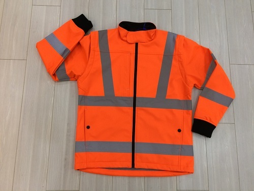 Hi-vis orange safety workwear softshell jacket