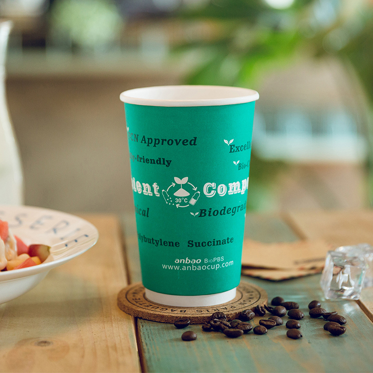 Environment-Friendly Biodegradable Coffee Cups With Lids And