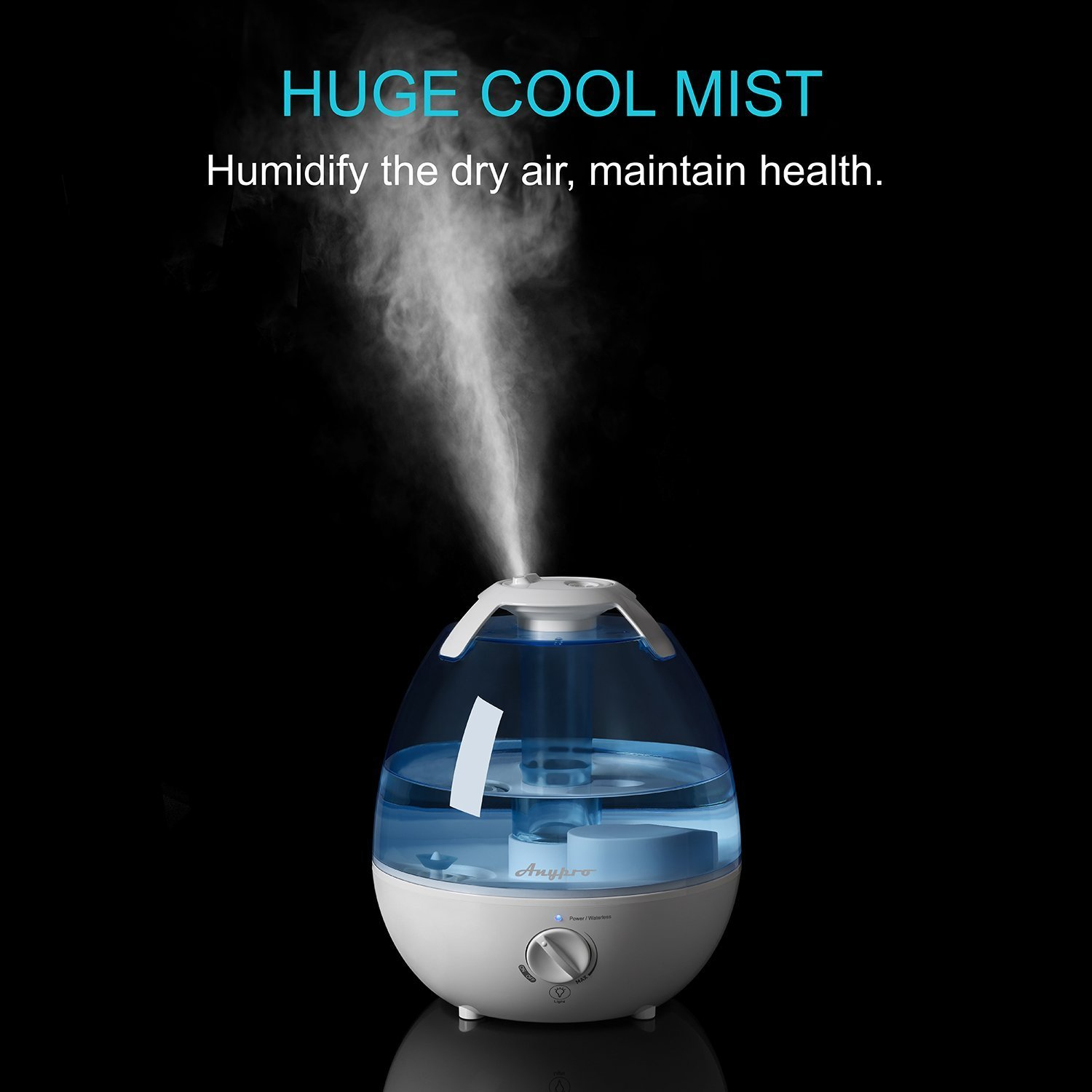Quiet Cool Humidifier – 0.9 Gallon/3.5L Ultrasonic Air Humid